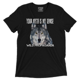 Wolf - Minimalist - Your myth is my demise - Vintage Black Tee