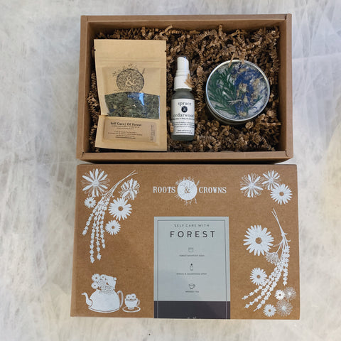 "Self Care ""Of Forest"" Kit: Small Batch Bath Salts, Herbal Tea, & Woodsy Spray"