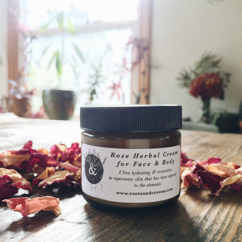 Rose Herbal Cream for Face & Body: Hydrating, Restorative, Made with Beautiful Herbs & Premium Oils