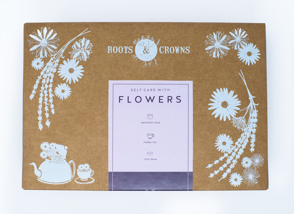 "Self Care ""Of Flowers"" Kit: with Bath Salts, Flower Tea, & Nourishing Foot Balm"
