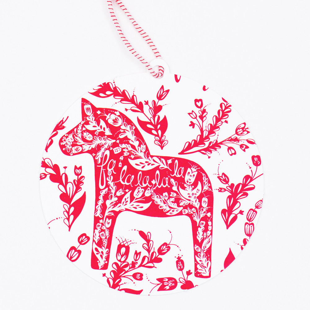 Dala Horse Ornament Christmas Card - Reyn Paper Co