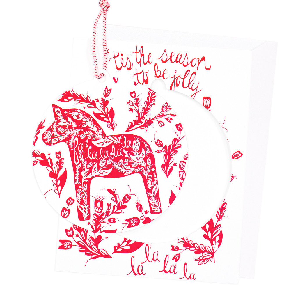 Dala Horse Ornament Christmas Card