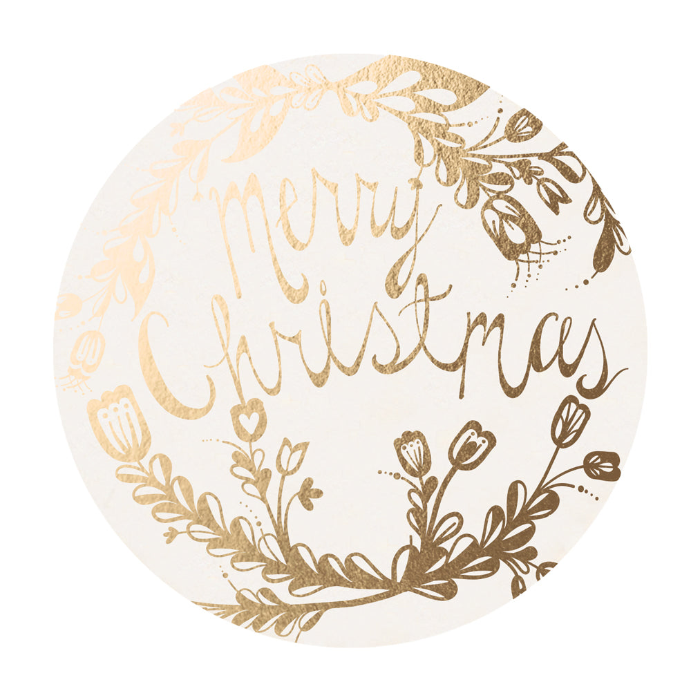 Golden Merry Christmas Coaster Set