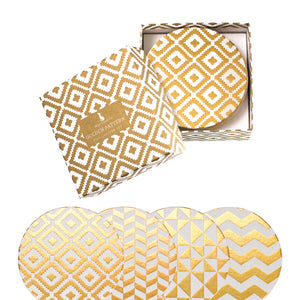 Golden Pattern Coaster Gift Set