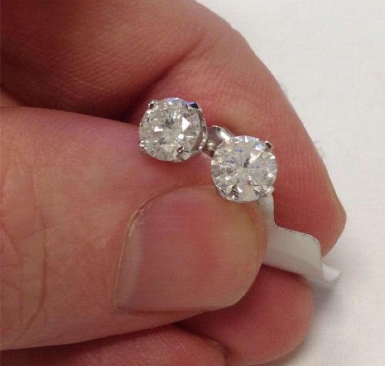 1.0 Ct Natural Diamond 14K White Gold Studs