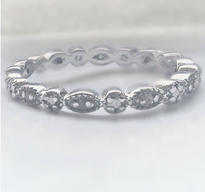 1/4 CTTW Natural Diamond Sterling Silver Stackable Ring