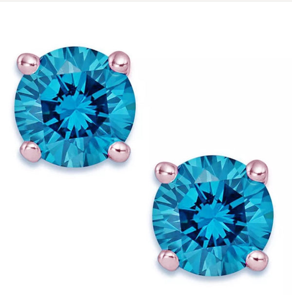 1.0 Ct Blue Diamond 14K Rose Gold Stud Earrings