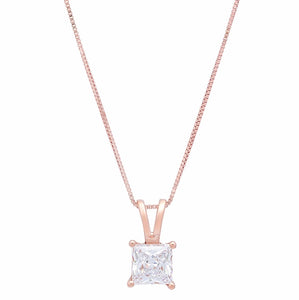 10 ct diamond princess cut 14k rose gold pendant necklace meraki 10 ct diamond princess cut 14k rose gold pendant necklace aloadofball Image collections