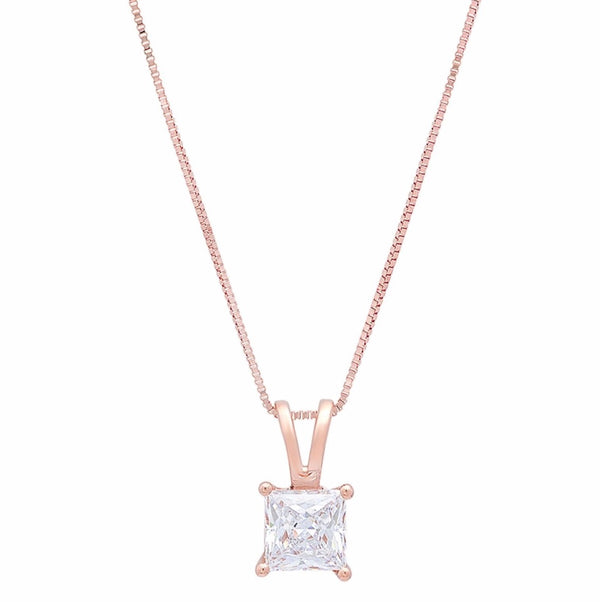 1.0 Ct Diamond Princess Cut 14K Rose Gold Pendant Necklace