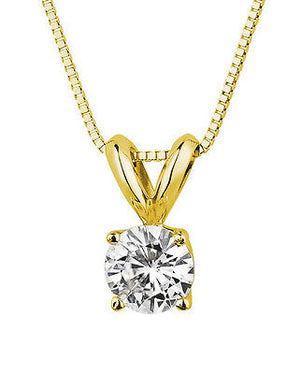2.0 Ct Simulated Diamond Pendant 14K Gold Necklace