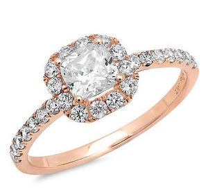 1.50CT Princess Halo Diamond 14K Rose Gold Ring