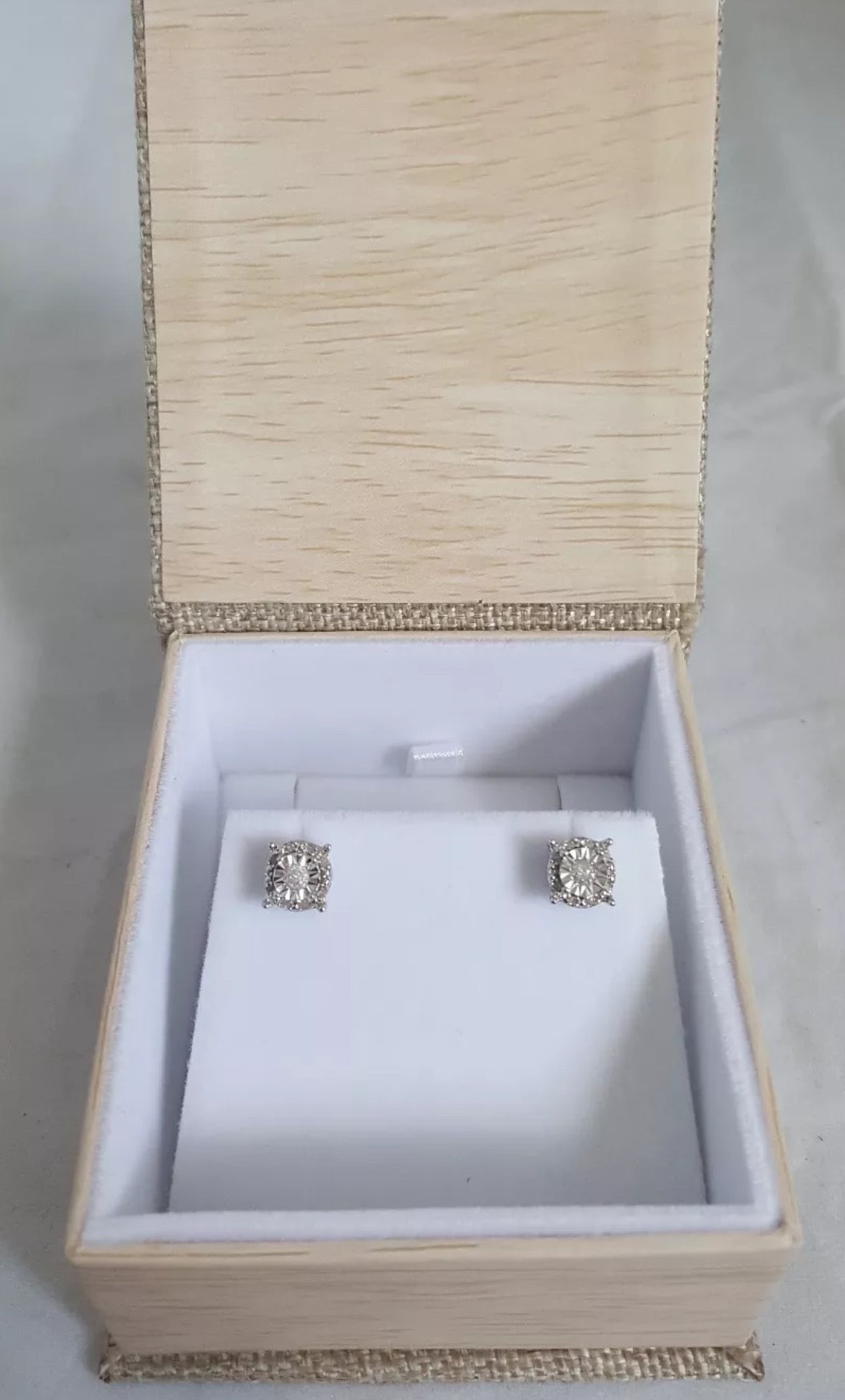 1/4 Cttw Natural Diamond Round Halo Sterling Silver Studs