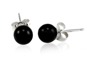 Genuine Black Onyx Sterling Silver Ball Stud Earrings