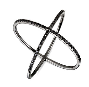 Black Onyx Sterling Silver Criss Cross X Ring