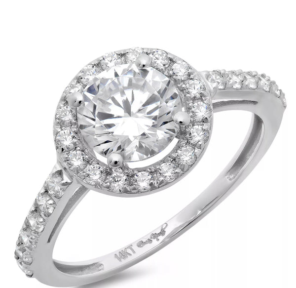 2.60 Ct Round Diamond Halo 14k White Gold Band