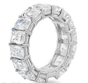 10.5 Ct Emerald Cut 14K White Gold Eternity Band