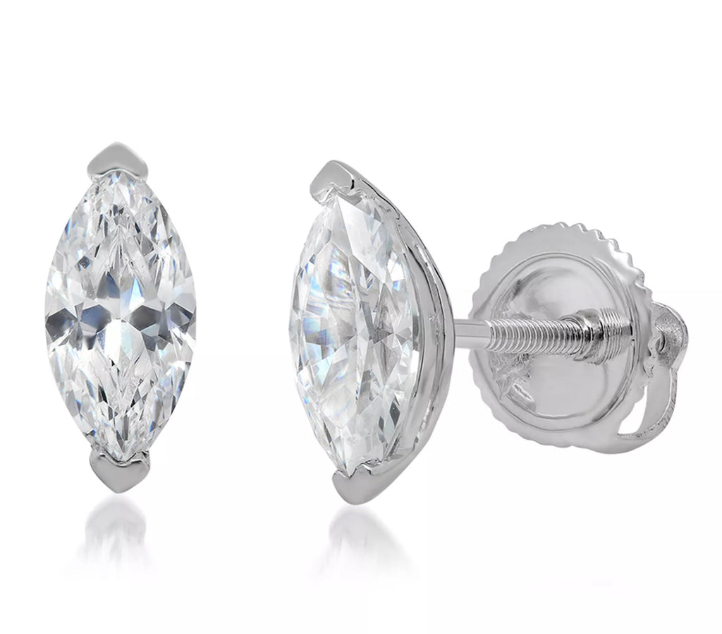 1.0 Ct Marquise Cut Diamond 14K White Gold Stud Earrings