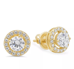 1.45 Ct Diamond Halo 14K Yellow Gold Stud Earrings