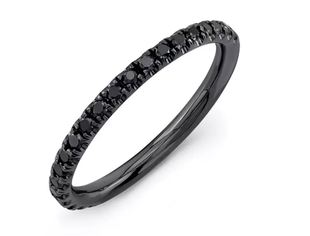 1/4 Ct Black Diamond 14K Black Gold over Sterling Silver Ring
