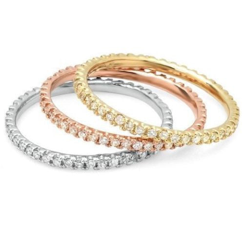 0.20 Ct Natural Diamond Eternity Stackable Band