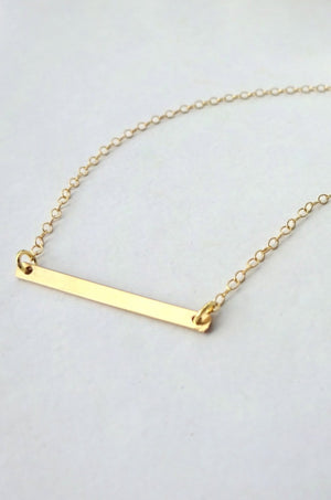 Dainty Horizontal Gold Bar Necklace