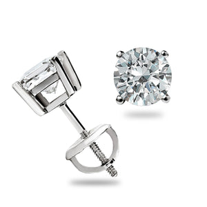 4.0 Ct Diamond 14K White Gold Stud Earrnigs