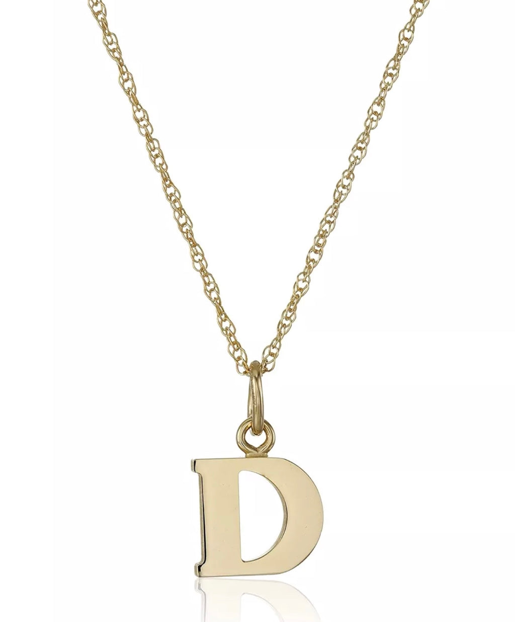 Solid 14K Gold Initial Pendant Necklace