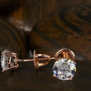 1.0 Ct Diamond 14K Solid Rose Gold Stud Earrings