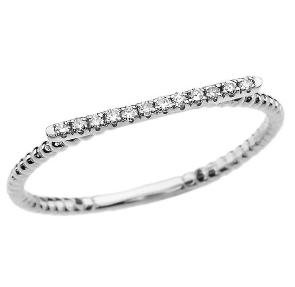0.03 CTW Natural Diamond Beaded Band Solid 14K Gold Stackable Ring