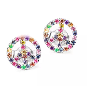 Natural Multi Gemstone Peace Design Solid 14K Gold Stud Earrings