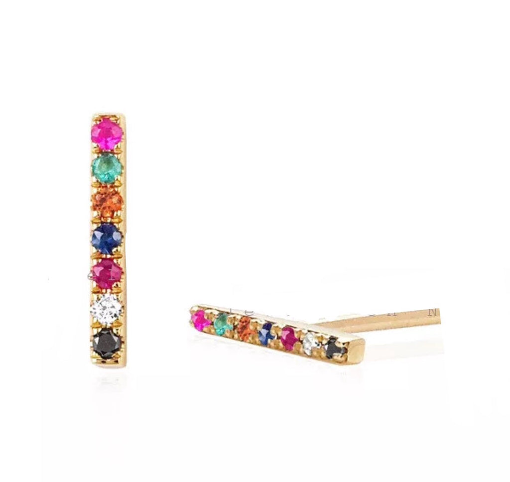 0.08 Ct Natural Multi Color Gemstone 14K Gold Bar Stud Earrings