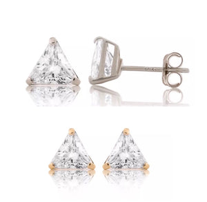 .50 Ct Trillion Cut Solid 14K Gold Stud Earrings