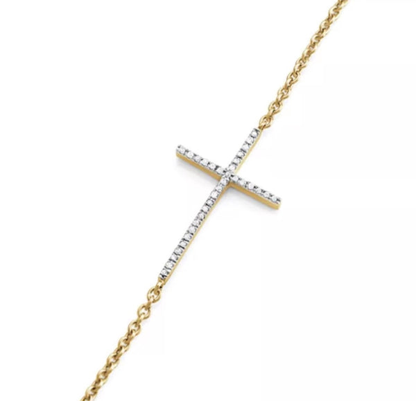 1/10 Natural Diamond Cross 14K Gold Over Sterling Stackable Bracelet