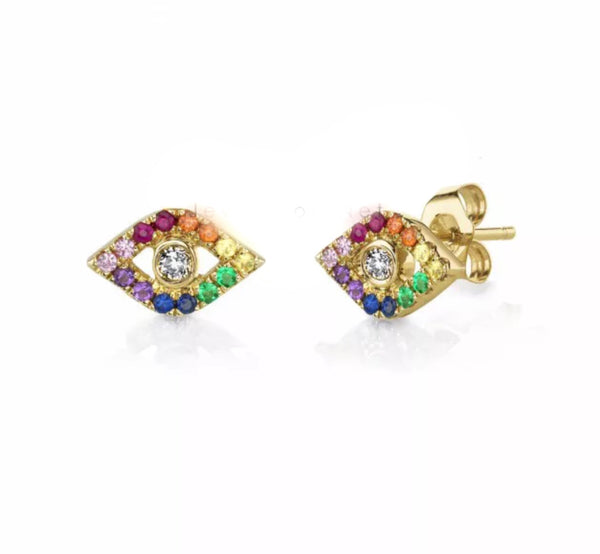 Natural Diamond & Multi Color Sapphire Gemstone Solid 14K Gold Evil Eye Stud Earrings