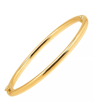 Solid 10K Yellow Gold Polished Hinged Bangle Bracelet