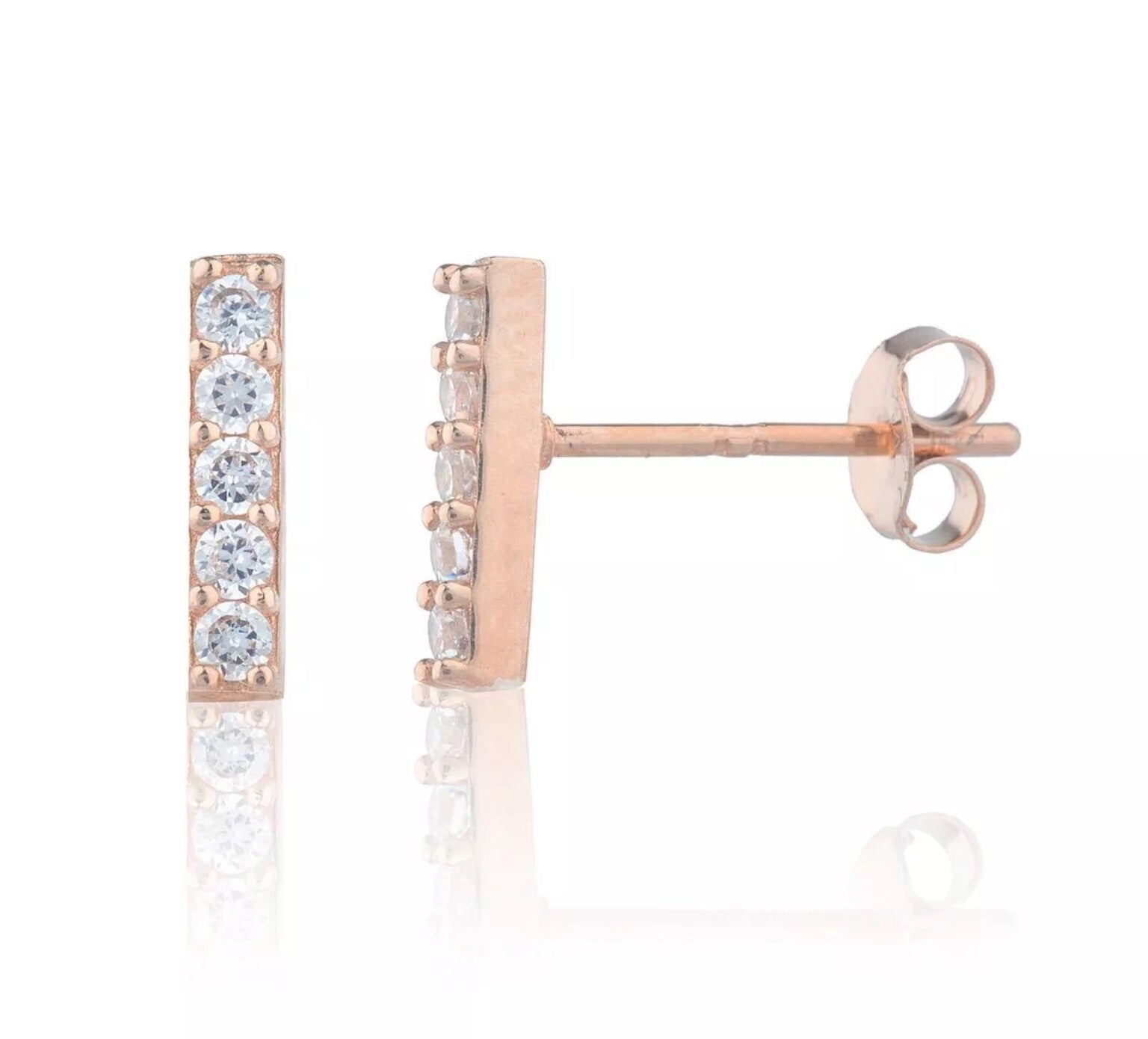 .20 Ct Simulated Diamond T-Bar 14K Rose Gold Studs