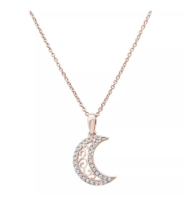 0.14 Ct Natural Diamond Sun Moon 14K Gold Pendant Necklace