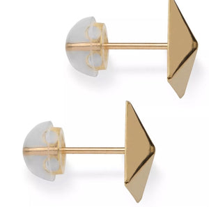 14K Solid Gold Pyramid Stud Earrings