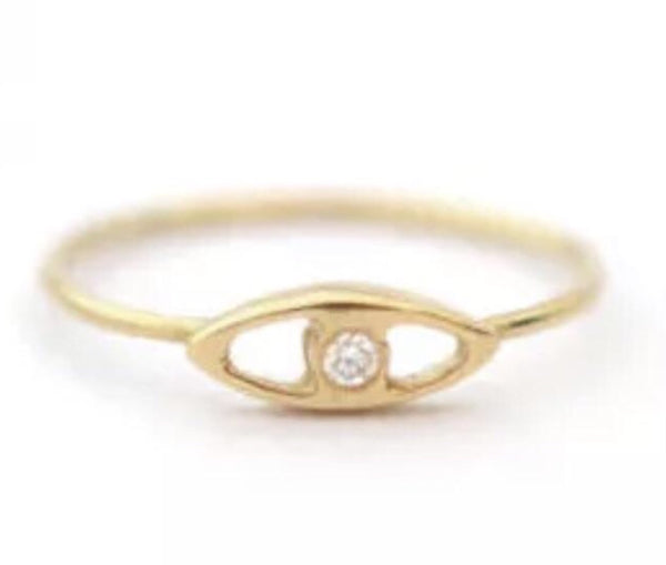 Natural Diamond Evil Eye Solid 14K Yellow Gold Ring