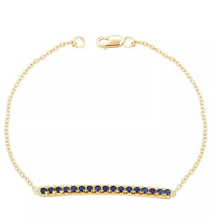 0.24 Ct Round Blue Sapphire Bar Solid 10K Gold Tennis Bracelet