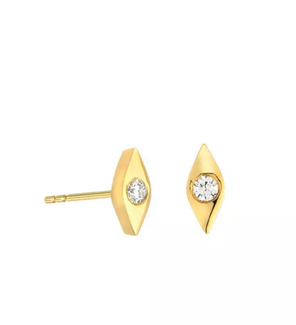 Natural Diamond Evil Eye Solid 14K Gold Stud Earrings