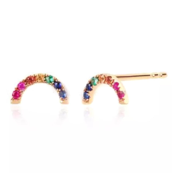 0.20 Ct Natural Multi Color Gemstone 14K Gold Rainbow Stud Earrings