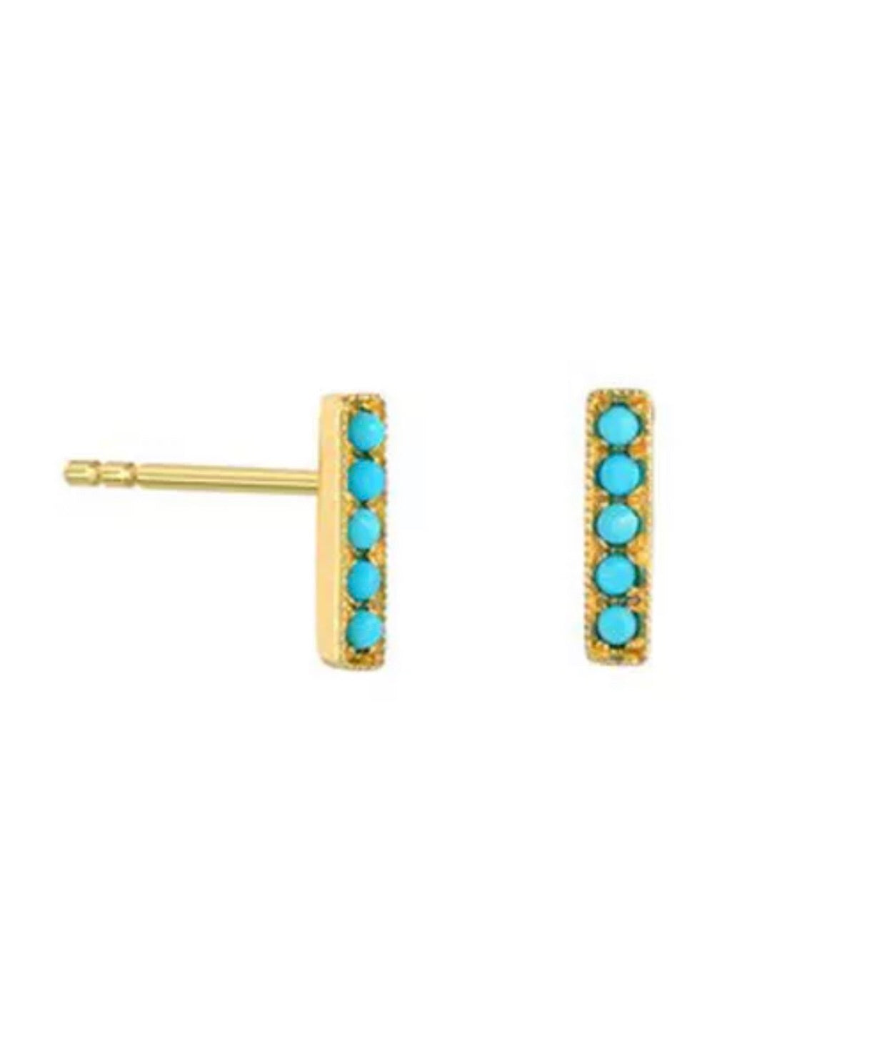 90c35215a Natural Diamond Multi Color Gemstone Turquoise Solid 14K Gold T Bar Stud  Earrings