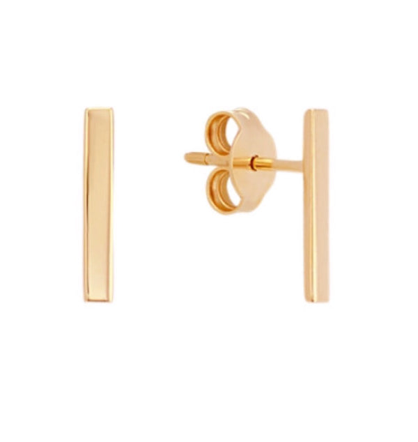 Solid 14K Gold T-Bar 8mm Stud Earrings