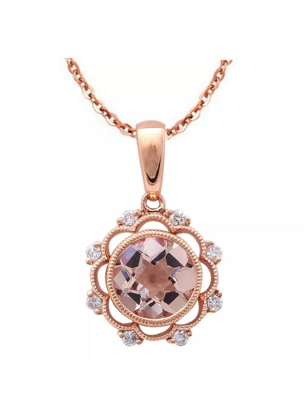 1.16 Ct Morganite & Diamond Vintage 14k Rose Gold Necklace