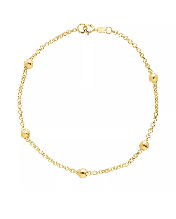 Beaded Shimmer Rolo Chain Solid 10K Gold Bracelet