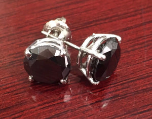 4.00 Ct Natural Black Diamond 14K White Gold Screwback Stud Earrings