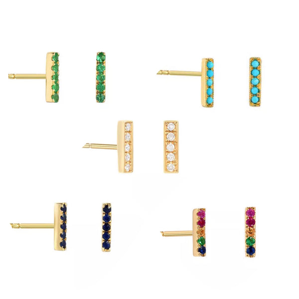 Natural Diamond Multi Color Gemstone Turquoise Solid 14K Gold T Bar Stud Earrings