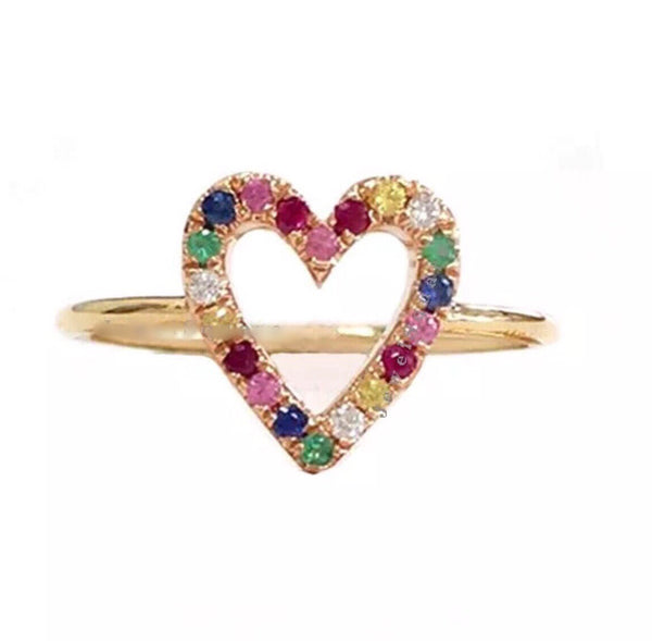 0.21 Ct Natural Diamond & Rainbow Gemstone Open Heart Solid 14K Gold Ring