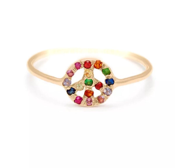 Natural Multi Color Gemstone Solid 14K Gold Peace Sign Ring